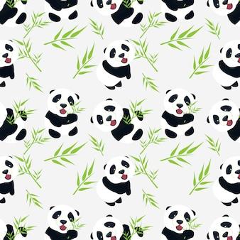 Netter baby-panda mit bambus verlässt nahtloses muster-design