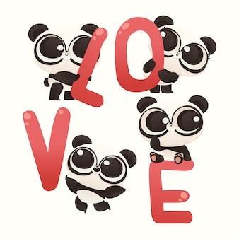 Netter baby panda-paar-valentinsgruß