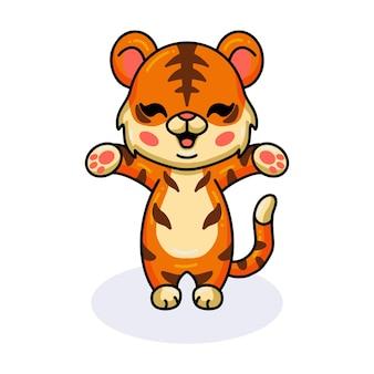 Netter baby-tiger-cartoon, der die hände anhebt