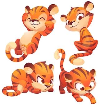 Netter baby-tiger-charakter schläft und schleicht