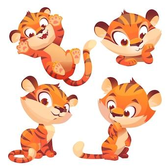 Netter baby-tiger-charakter spielt und denkt nach