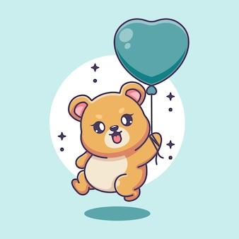 Netter babybär, der mit ballonkarikatur fliegt