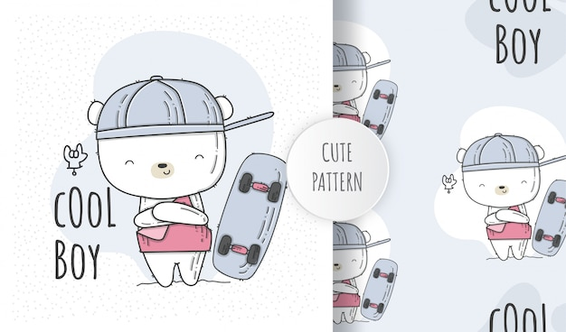 Netter babybär des flachen nahtlosen musters mit skateboard