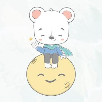 Netter babybär sitzen auf der gezeichneten illustration der mondwasserfarbkarikatur hand