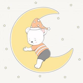 Netter babybärnschlaf auf der gezeichneten mondkarikaturhand
