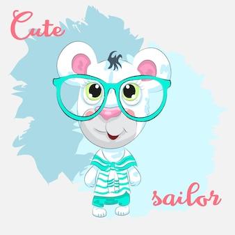 Netter Babybär mit gezeichneten Gläsern der Karikatur Hand