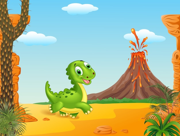 Netter babydinosaurier, der in den prähistorischen hintergrund läuft