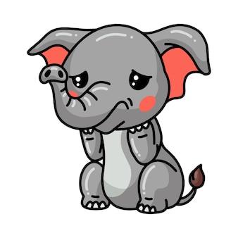 Netter babyelefant-cartoon, der traurig weint