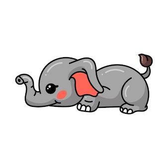Netter babyelefant-cartoon legte sich hin