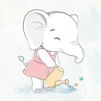 Netter babyelefant, der die blumenwasserfarbkarikaturhand gezeichnet wässert