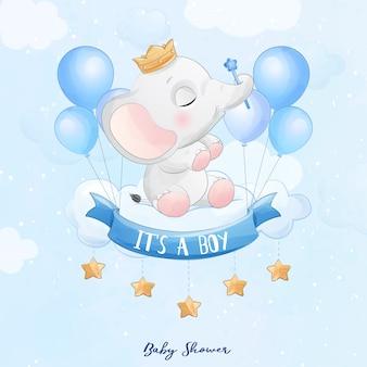 Netter babyelefant, der in der wolke mit aquarellillustration sitzt