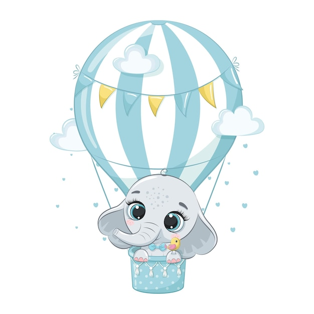 Netter babyelefant, der in einer heißluftballonkarikaturillustration fliegt