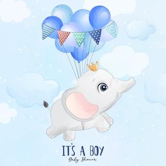 Netter babyelefant, der mit ballonillustration fliegt