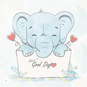 Netter babyelefant in einer gezeichneten illustration der hand der karikaturkarikatur der schachtel