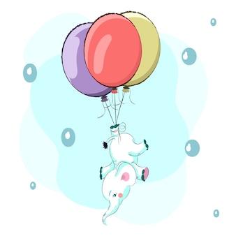 Netter babyelefant in einer heißluftballon-karikaturzeichnung