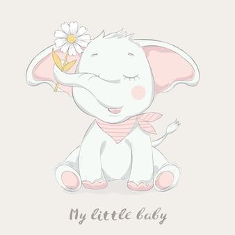 Netter babyelefant mit blumenkarikatur