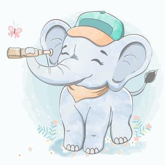 Netter babyelefant mit gezeichneter illustration der fernglaswasserfarbkarikatur hand