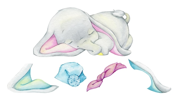 Netter babyelefant, ohren, bogen, hut. aquarell-set, designer, auf einem isolierten hintergrund, zum erstellen, veranschaulichen.