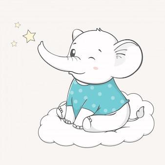 Netter babyelefant sitzen auf der gezeichneten wolkenkarikaturhand