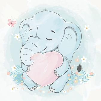 Netter babyelefant umarmt eine gezeichnete illustration der hand des großen herzens aquarellkarikaturhand