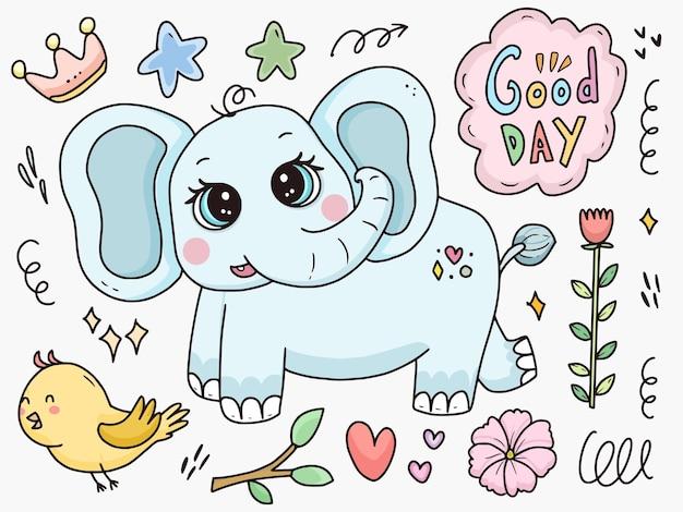 Netter babyelefant-zeichensatzkarikatur