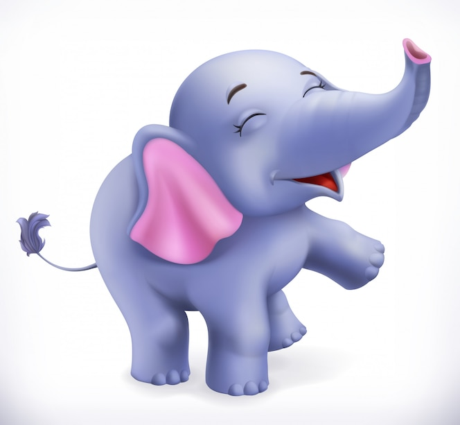 Netter babyelefant, zeichentrickfigur. lustige tiere