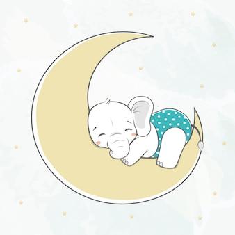Netter babyelefantschlaf auf der mondwasserfarbkarikaturhand