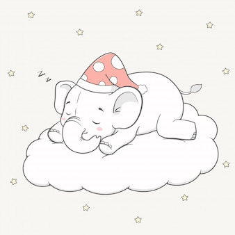 Netter babyelefantschlaf auf der wolkenkarikaturhand gezeichnet