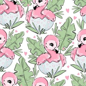 Netter babyflamingo sitzt im nahtlosen muster der eier und der tropischen blätter leaves