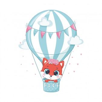 Netter babyfuchs auf einem heißluftballon. illustration für babyparty, grußkarte, partyeinladung, modekleidung t-shirt druck.