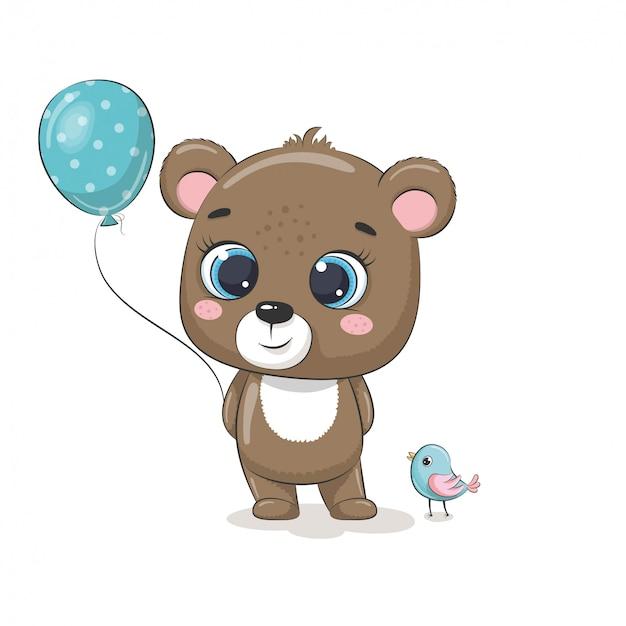 Netter babyfuchs mit luftballons und vogel. illustration für babyparty, grußkarte, partyeinladung, modekleidungs-t-shirt drucken.