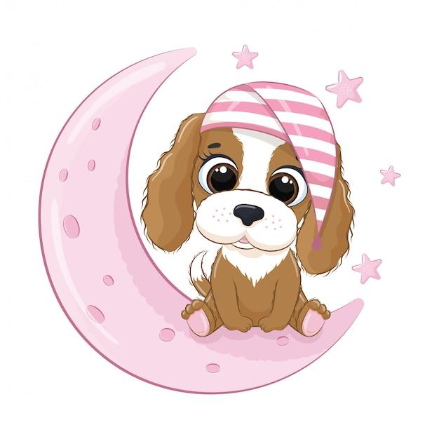 Netter babyhund, der auf dem mond sitzt. vektorillustration für babyparty, grußkarte, partyeinladung, modekleidungs-t-shirt drucken.