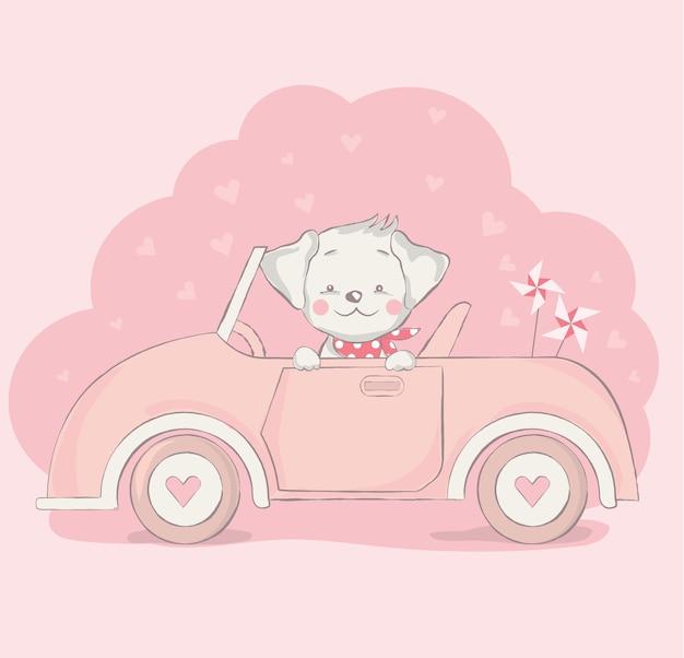 Netter babyhund mit autokarikatur