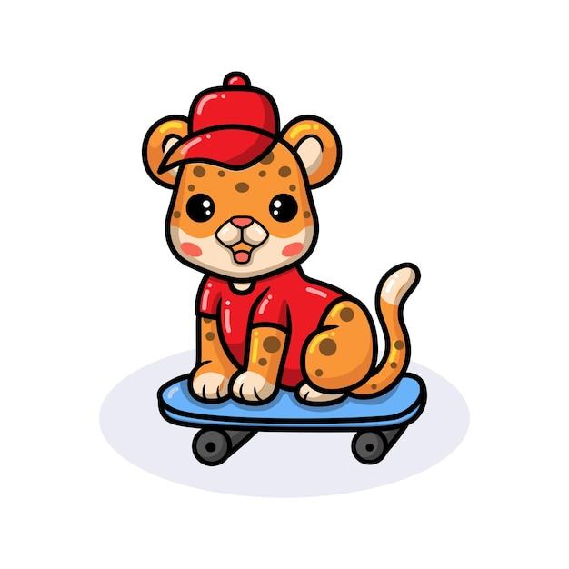 Netter babyleoparden-cartoon, der skateboard spielt