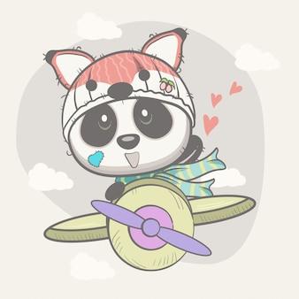 Netter babypanda auf einem flugzeug