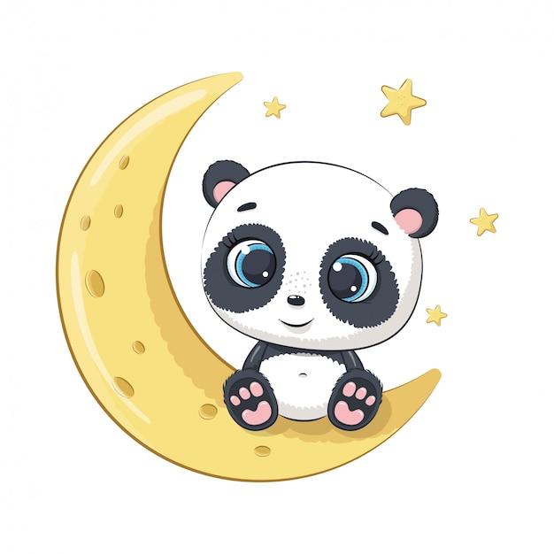 Netter babypanda, der auf dem mond sitzt. illustration Premium Vektoren