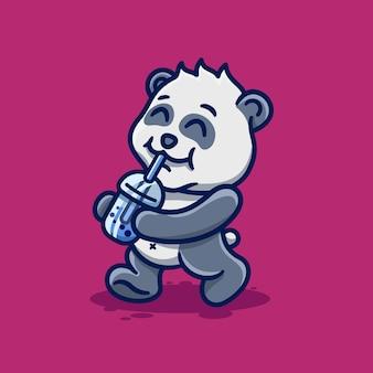Netter babypanda, der boba-karikatur kawaii trinkt