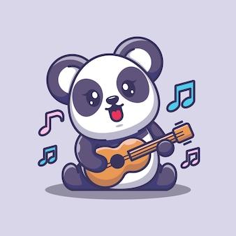 Netter babypanda, der gitarrenkarikatur spielt