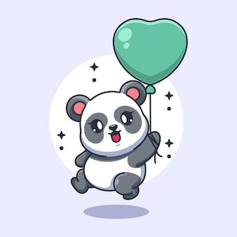 Netter babypanda, der mit ballonkarikatur fliegt
