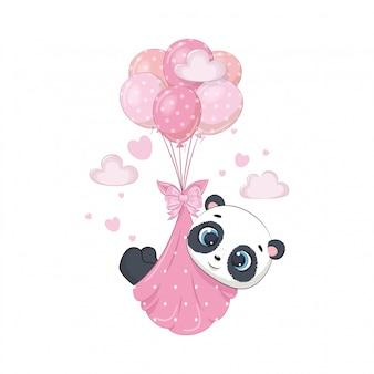 Netter babypanda in windeln auf den luftballons Premium Vektoren