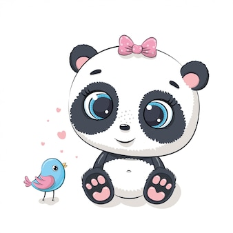 Netter babypanda mit vogel. illustration