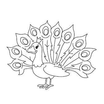 Netter babypfau zum ausmalen auf weißem hintergrund isoliert. entwicklungsaufgabe mit dem färben eines vogels für kinder. lustige zeichentrickfigur pfau