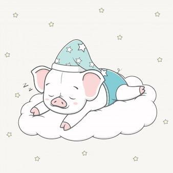 Netter babyschweinschlaf auf der wolkenkarikaturhand gezeichnet