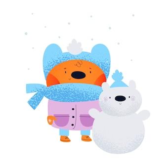 Netter babytierteddybär mit schneemann