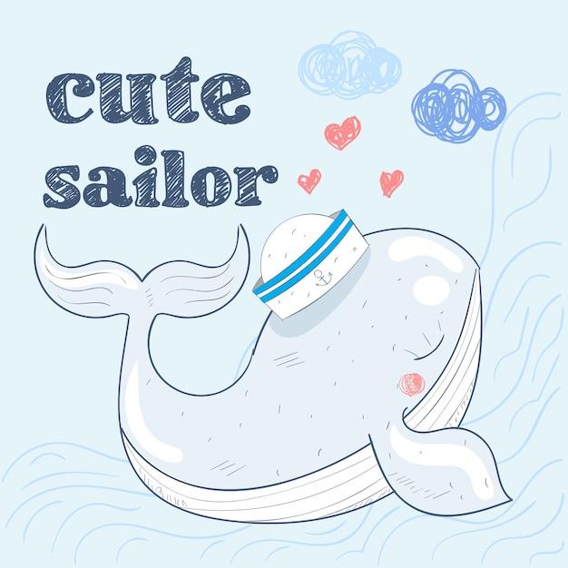 Netter babywal in einer gezeichneten vektorillustration des matrosenanzugkarikatur hand