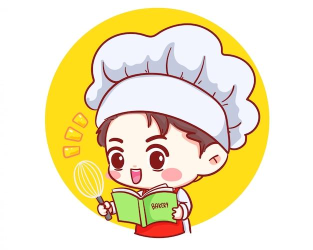 Netter bäckerei-kochjunge, der im restaurant mit rezeptbuch und schöpflöffel-karikaturcharakter-karikaturkunstillustration kocht.