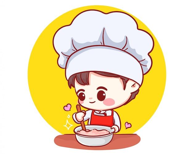 Netter bäckerei-kochjunge, der lächelndes karikaturkunst-illustrationslogo kocht.