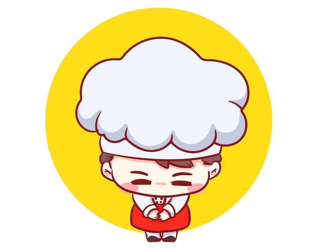 Netter bäckereikochjunge danke karikaturkunstillustration