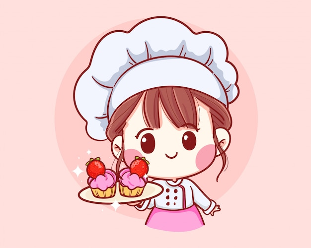 Netter bäckereikochjunge, der das lächelnde karikaturkunstillustrationslogo der erdbeerkuchen hält.