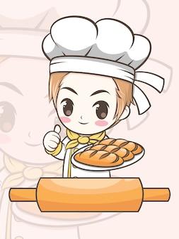 Netter bäckereikochjunge, der eine brotkarikaturfigur und eine logoillustration präsentiert